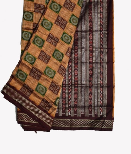 Yellow & Black Bomkai Silk Saree