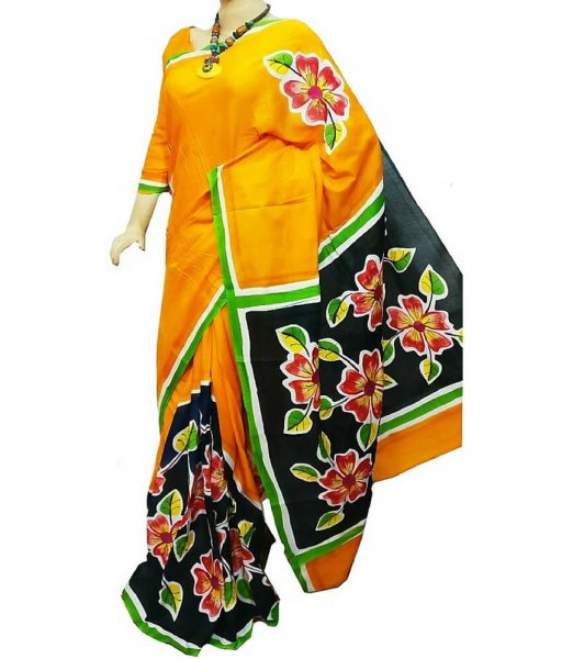 Yellow & Black Double Color Silk Saree