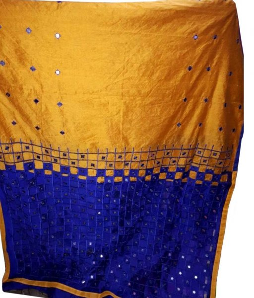 Golden  & Blue Cotton Silk Cut Work Saree