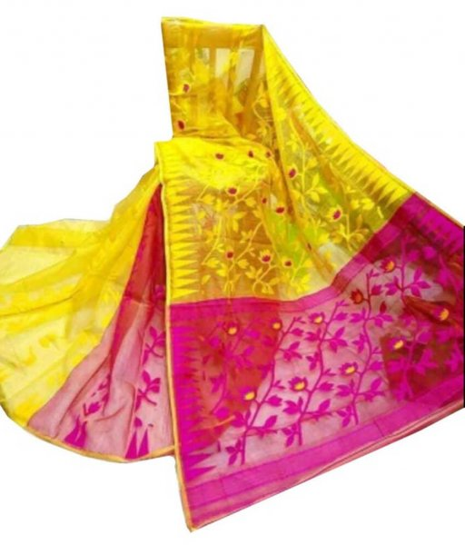 Yellow & Pink Jamdani Saree