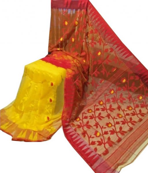 Yellow & Red Jamdani Saree