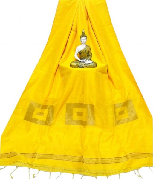 Yellow Cotton Silk Saree