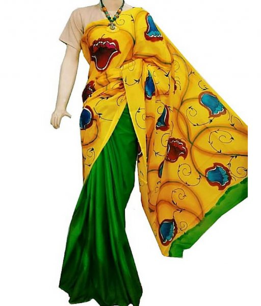 Yellow Green Bishnupuri Silk Saree