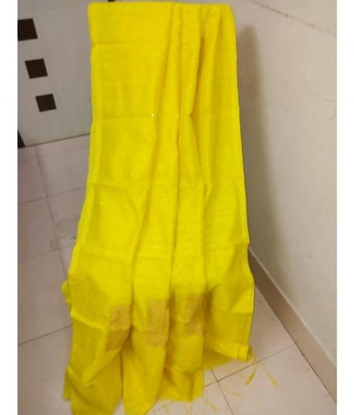Yellow Handloom Sequence Saree