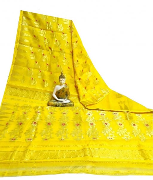 Yellow Jamdani Silk Saree