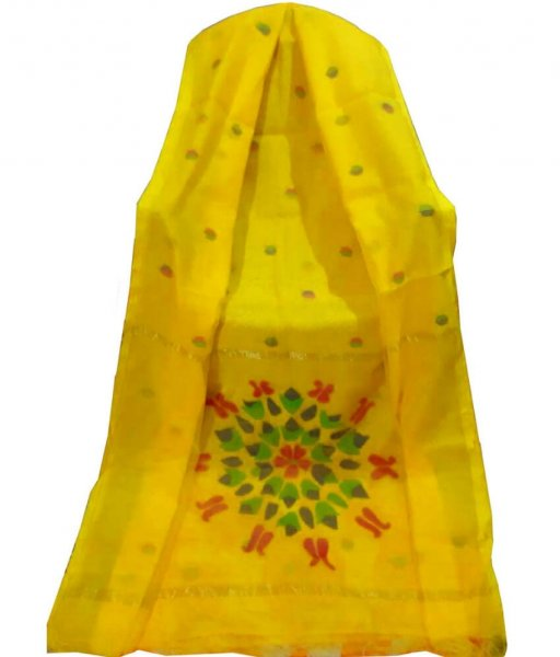 Yellow Resham Silk Saree