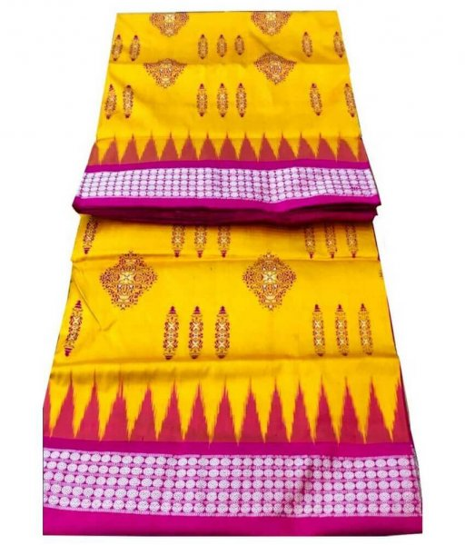Yellow Sambalpuri Bomkai Saree