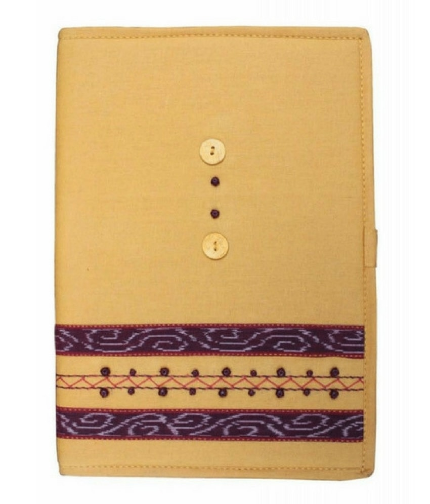 Yellow Sambalpuri Ikkat File Cover
