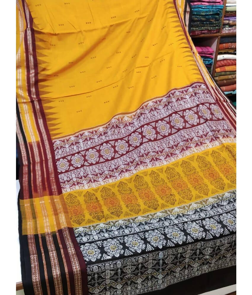 Yellow Sambalpuri Saree