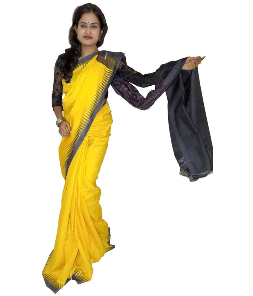 Yellow Tussar Silk Saree
